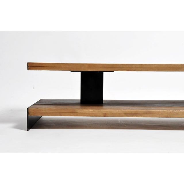 Metal Modern Oak Wood Coffee Table With Metal Trim For Sale - Image 7 of 10