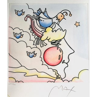 Peter Max Hand Drawn Etching With Original Water Colors, Signed For Sale