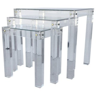 Set of Three Vintage Lucite and Glass Nesting Tables For Sale