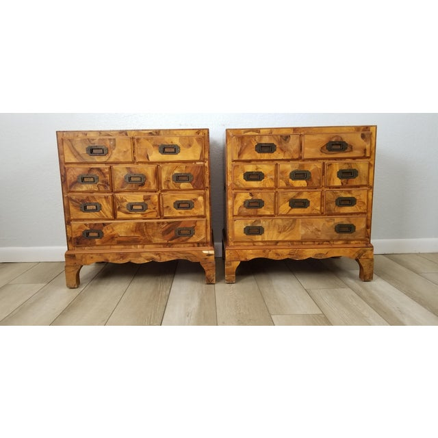 Italian Campaign Style Burlwood Patch Chest / Nightstands - a Pair For Sale - Image 12 of 13