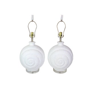 1970s Palm Beach Hollywood Regency Plaster Nautilus Shell Lamps - a Pair For Sale
