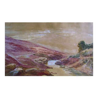 Quite Stream Watercolor Painting, Circa 1900 For Sale