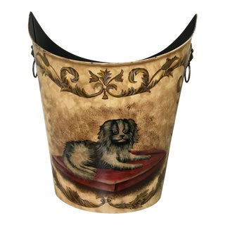 Metal Tole Dog and Floral Scenes Painted Waste Can For Sale