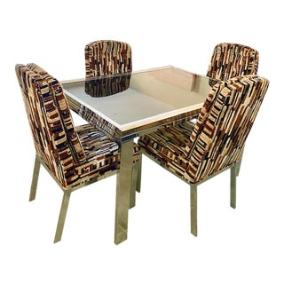 Milo Baughman Brass Chrome & Glass Table & Chairs For Sale