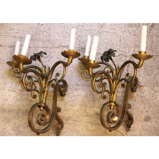 Mid 20th Century Golden Bronze Three Light Sconces - a Pair For Sale - Image 5 of 7