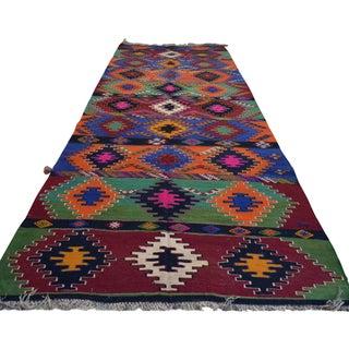 Turkish Large Hand Woven Kilim Runner - 5′11″ × 15′5″