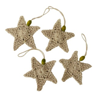 Handmade Crochet Cotton Starfish Ornaments S/4 For Sale