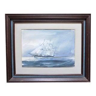 Dennis John Hanceri Watercolor Painting Sailing Ship For Sale