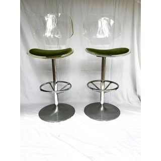Pair of Mid-Century Modern Lucite Bar Stools Preview