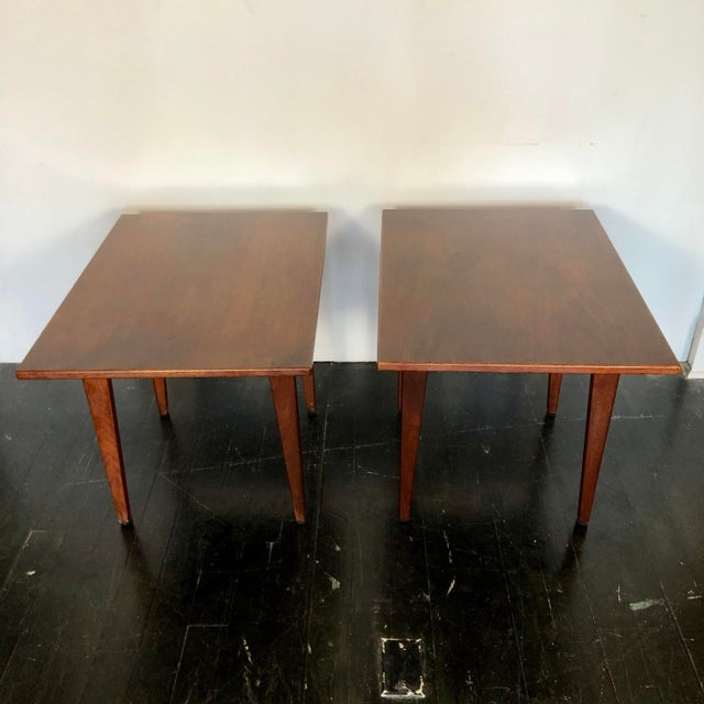 1960s pair of Danish modern solid walnut side tables by Jens Risom for Risom Designs. Clean, modern lines, and perfect...