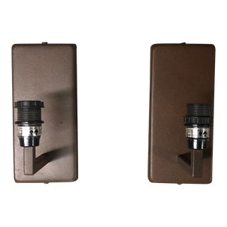 Pair of Brown Powder Coated Contemporary Rectangle Sconces For Sale