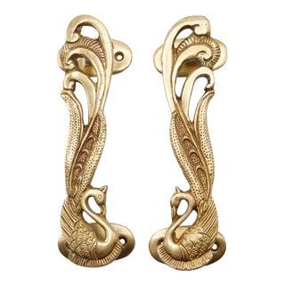Gold Brass Peacock Door Handles - a Pair For Sale