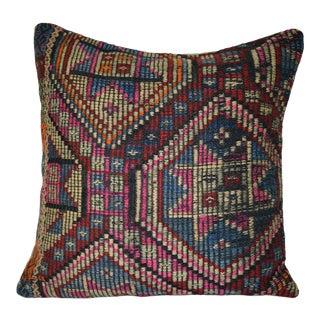 Vintage Geometrical Jajim Pillow Cover, Geometrical Design Turkish Kilim Cushion Cover 20'' X 20'' (50 X 50 Cm) For Sale
