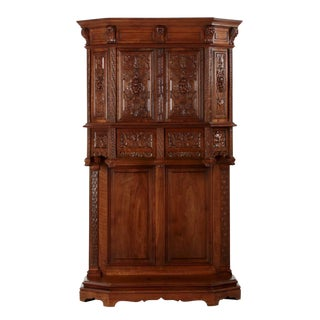 19th Century Antique French Gothic Revival Carved Walnut Cupboard For Sale