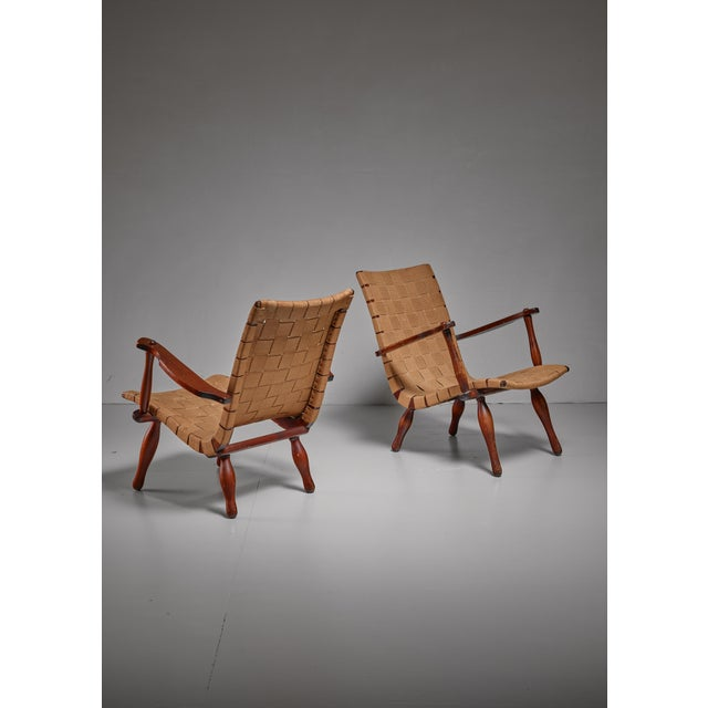 Pair of Lounge Chairs with Webbed Seating, Sweden, 1940s For Sale - Image 4 of 5