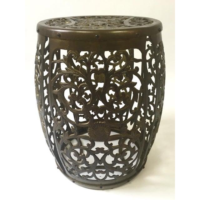 Asian Brass Filigree Garden Stool - Image 2 of 5