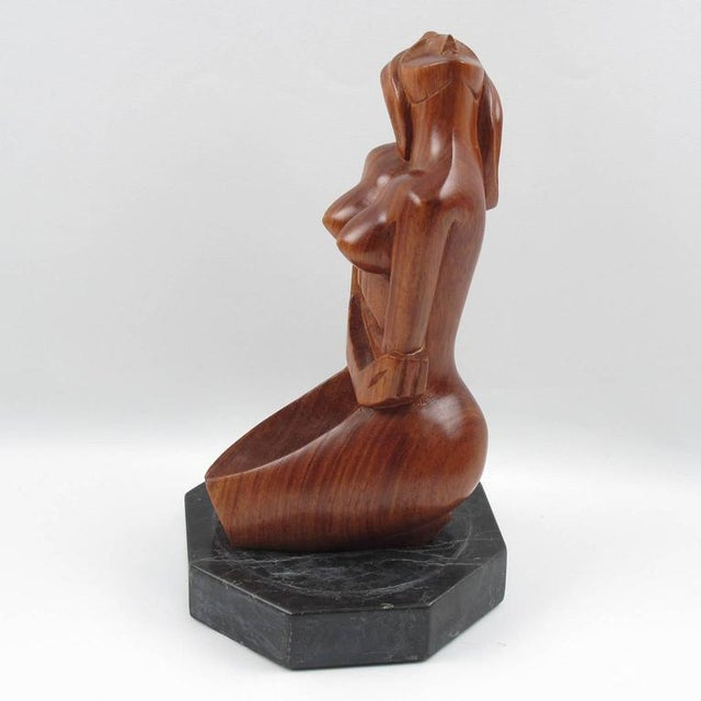 Mid-Century Cubist Carved Mahogany Woman Sculpture For Sale In Atlanta - Image 6 of 11