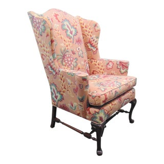 English Style Queen Anne Mahogany Wing Chair For Sale