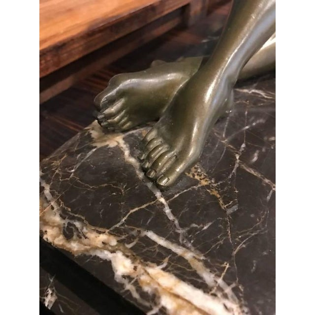 Bronze Signed French Art Deco Bronze Sculpture of Nude Seated Female For Sale - Image 7 of 10