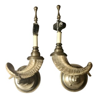 1970s Chapman Hollywood Regency Faux Ram Horn and Brass Sconces - a Pair For Sale