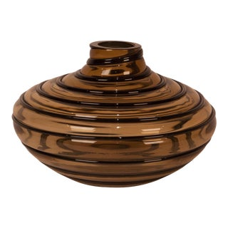 Salviati Amber Glass Vase, Italy 20th Century For Sale
