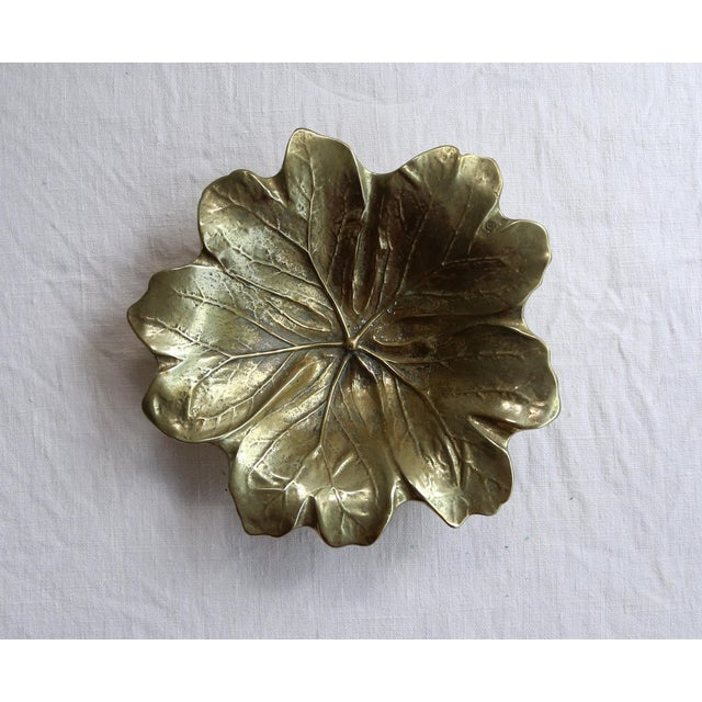 Traditional Brass Round Leaf Dish For Sale - Image 3 of 5