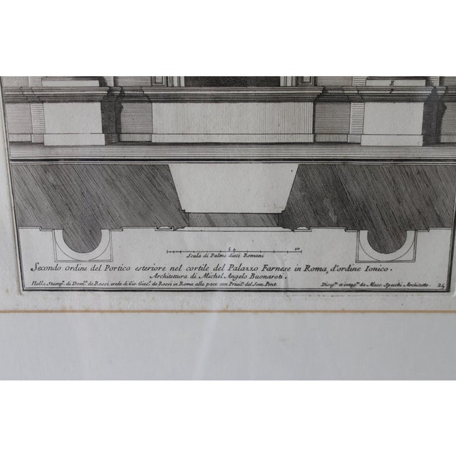 Early 19th Century Early 19th Century Antique Architectural Portico of the Palace Fornese Rome Print For Sale - Image 5 of 11