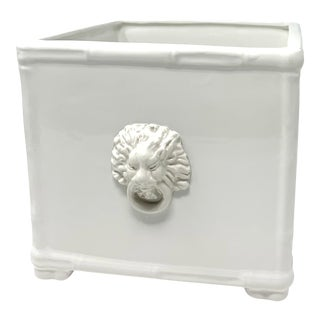 Lion Cachepot in Lacquer White For Sale