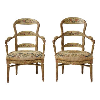 Pair of Continental Painted Armchairs With Needlework Seats For Sale