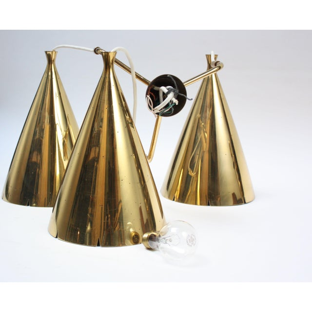 Mid-Century Modern Mid-Century Three Pendant Solid Brass Chandelier For Sale - Image 3 of 11