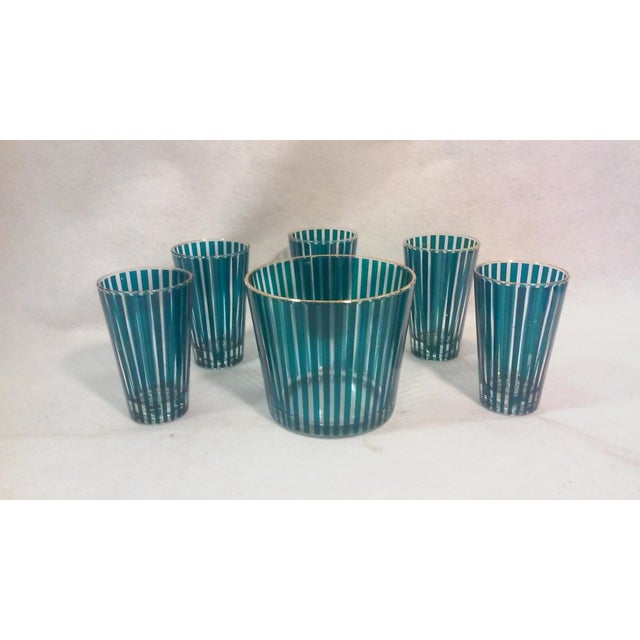 Mid Century Green Stripe Bar Set, Six Pieces For Sale In Detroit - Image 6 of 6