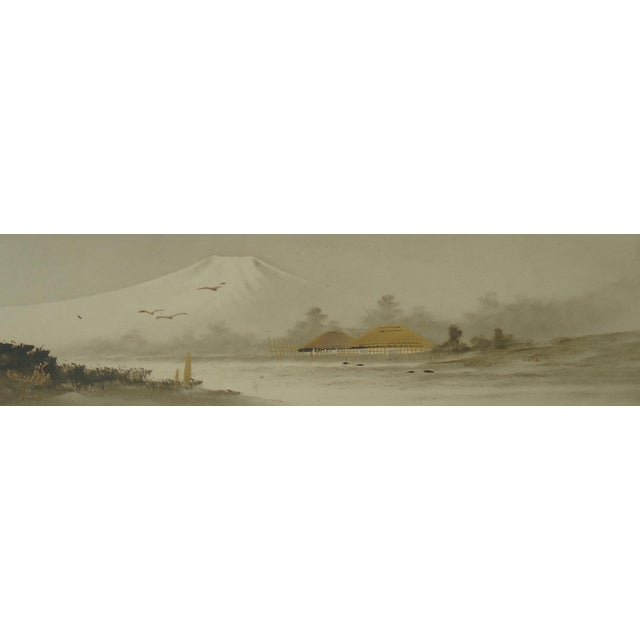 Antique Japanese Landscape Painting Mt Fuji For Sale - Image 5 of 5