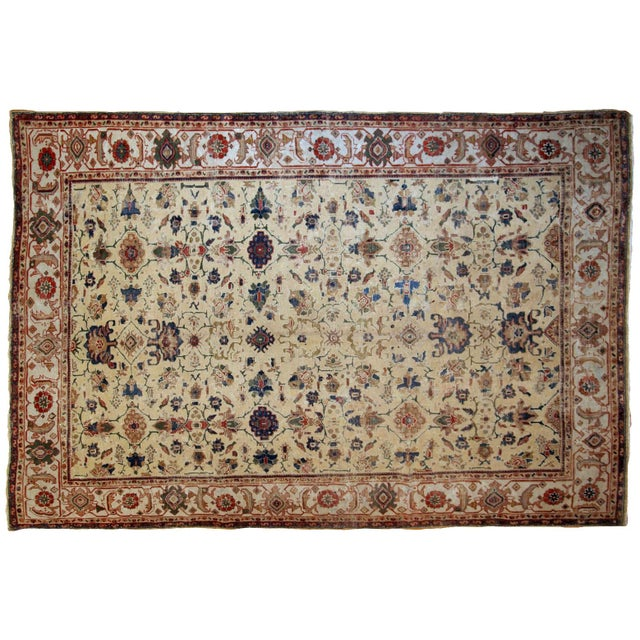 Beige 1900s Handmade Antique Persian Mahal Distressed Rug 8.10' X 11.6' For Sale - Image 8 of 9