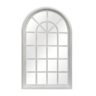 Distressed White Arched Wood Window Pane Mirror For Sale