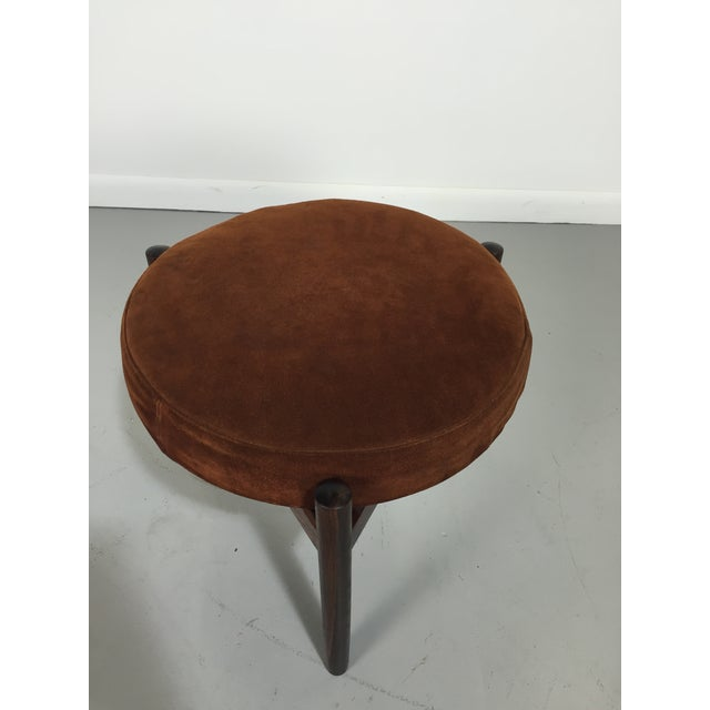 Danish Suede and Rosewood Stool - Image 5 of 6