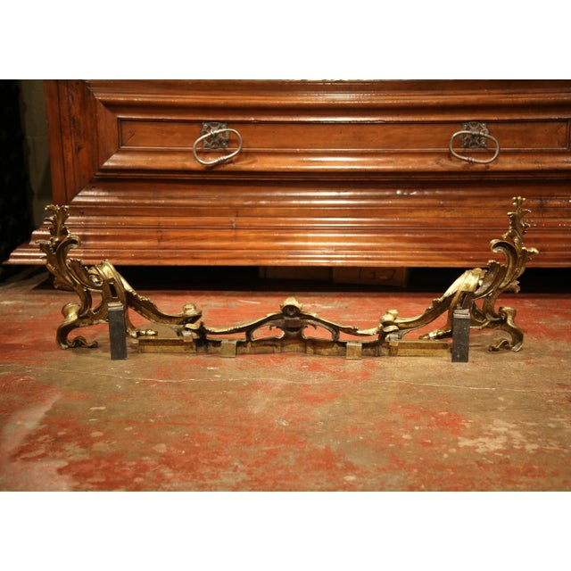 19th Century French Gilt Bronze Chenets with Matching Fender - a Pair For Sale - Image 9 of 11