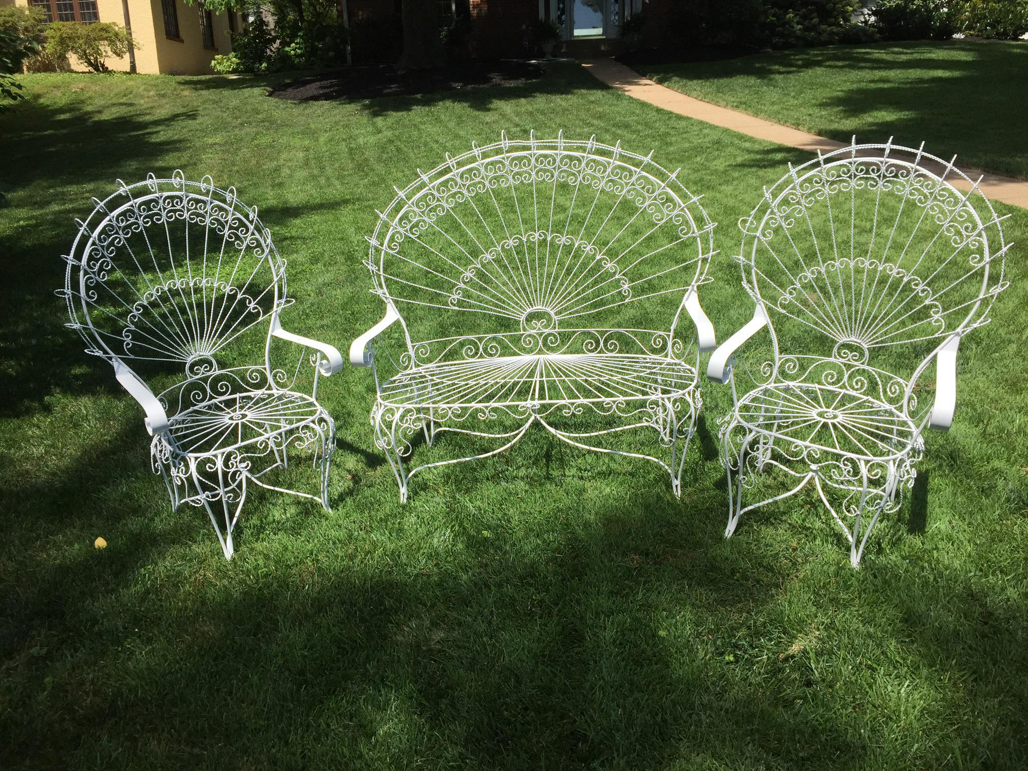 Vintage Wrought Iron Peacock Patio Chairs   Set Of 3   Image 2 Of 5