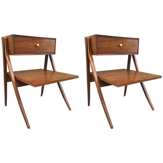 Kipp Stewart & Stewart MacDougall Sculptural Walnut Nightstands - Image 4 of 4