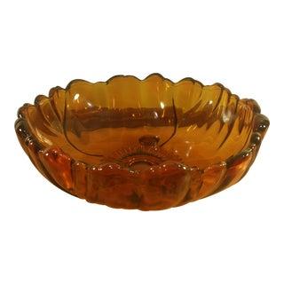 Amber Sunflower Serving Bowl For Sale