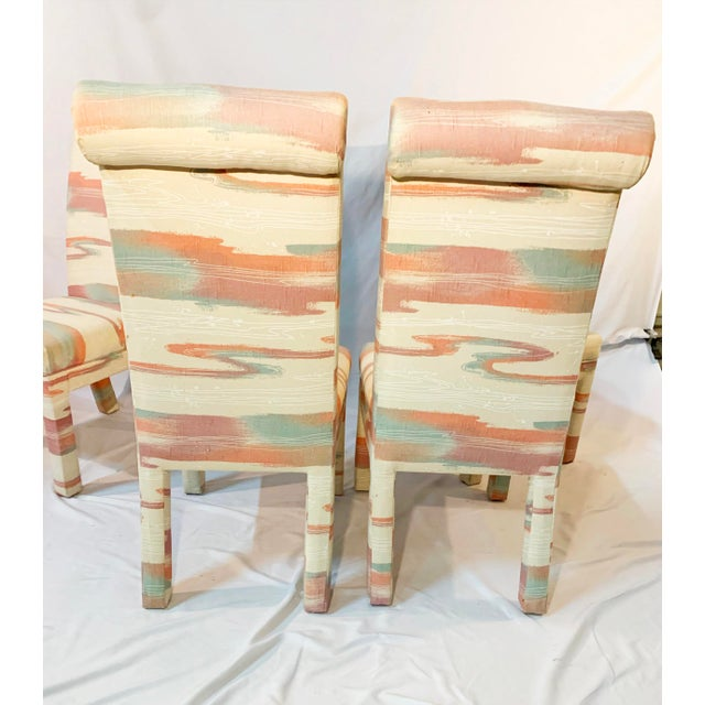 Set of four vintage 1980s style parsons chairs. They have colorful, eccentric, classic Miami vice, 1980s style upholstery....