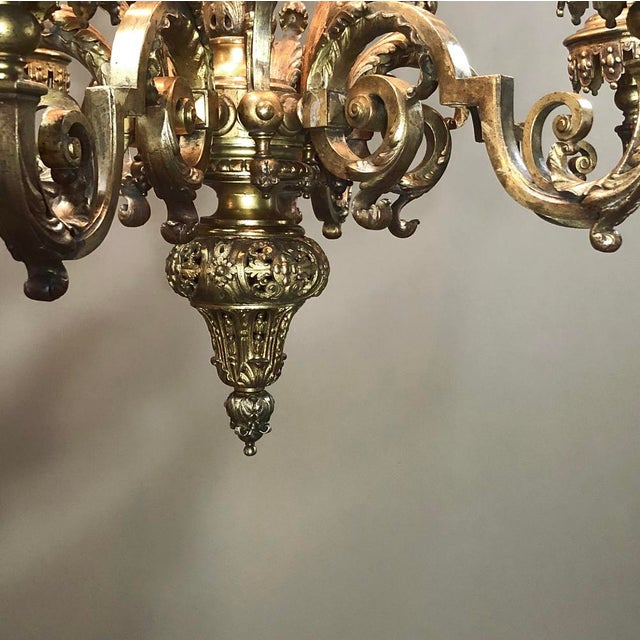Antique French Louis XIV Bronze Chandelier For Sale - Image 9 of 13
