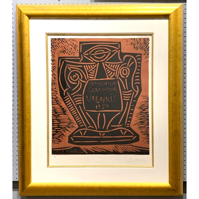 This is an original linocut in two colors, printed on Arches paper, and is an early Cubist style. It advertises an exhibit...