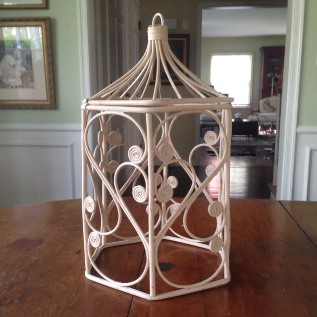 Vintage Rattan Wicker Birdcage - Image 11 of 11