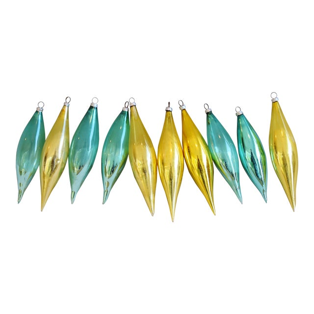 Teal & Gold Christmas Icicle Tree Ornaments W/Boxes - Set of 10 For Sale