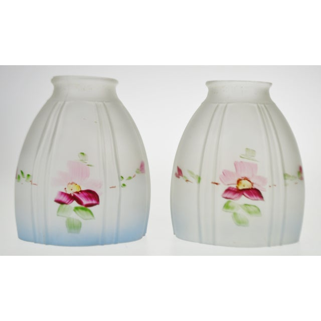 Early 20th Century Victorian Handpainted Frosted Glass Light Shades - a Pair For Sale - Image 5 of 12