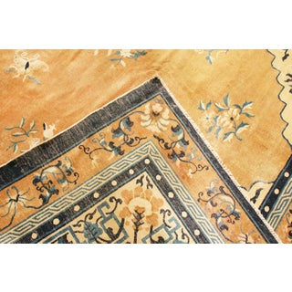 Antique Peking Traditional Gold and Blue Wool Rug - 9′ × 12′8″ Preview