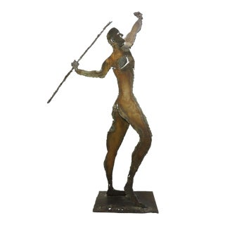 Mid Century Metal Brutalist Art Sculpture of a Man Throwing Spear Javelin Statue For Sale