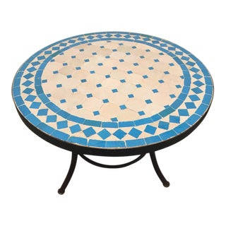 Vintage Mid Century Moroccan Mosaic Outdoor Turquoise Tile Side Table on Low Iron Base For Sale