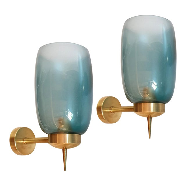 1970s Mid-Century Modern Blue Murano Glass Sconces Attr to Seguso - a Pair For Sale