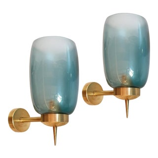 Two Pairs of Blue Murano Glass Mid Century Modern Sconces Attr to Seguso, 1970s For Sale